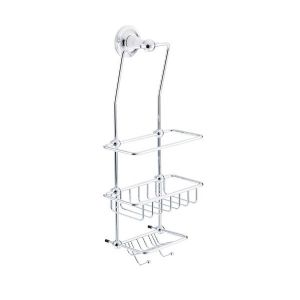 St James Porcelain Stem Wall Mounted Wire Shower Tidy (white) - SJ620-PS
